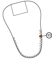 Tongue top stitching by zig-zag – only lower part